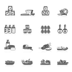 Supermarket Icons Black