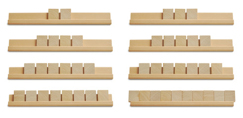 Collection of blank wood tiles isolated on white background