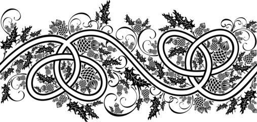border with celtic ornament and flowers thistle black and white