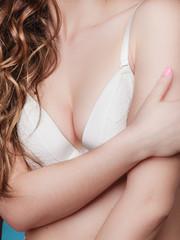 beauty woman in white bra closeup