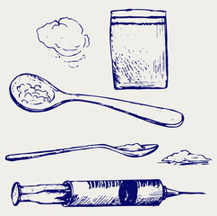 Drug syringe. Cooked heroin on spoon. Doodle style