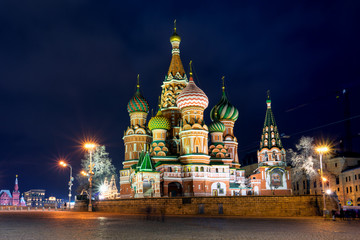 Fototapete - Night view of Beautiful St. Basil Cathedral, Moscow, Russia