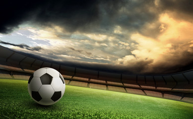 stadium and soccer ball