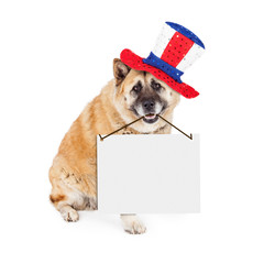 Wall Mural - Patriotic American Dog Carrying Blank Sign