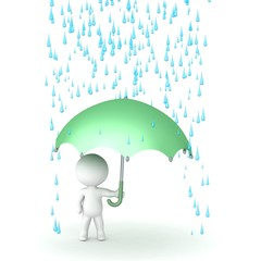 3D Character with Umbrella and Rain above