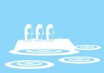 Cute Penguins on Floating Ice vector illustration