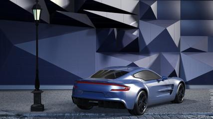 Sportwagen vor einer futuristischen Kulisse