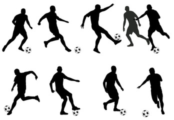soccer players detailed silhouettes set - vector
