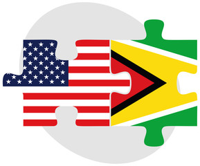 USA and Guyana Flags in puzzle