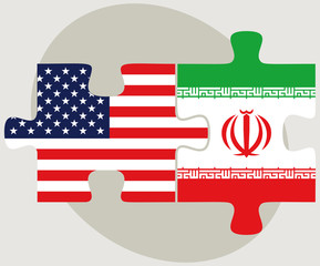 USA and Iran Flags in puzzle