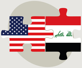 USA and Iraq Flags in puzzle