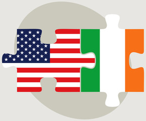 USA and Ireland Flags in puzzle