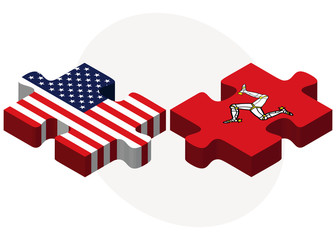 USA and Isle of Man Flags in puzzle