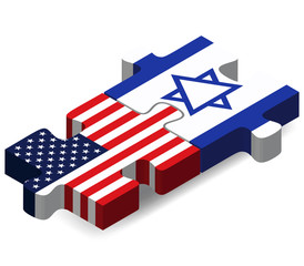 USA and Israel Flags in puzzle