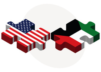 USA and Kuwait Flags in puzzle