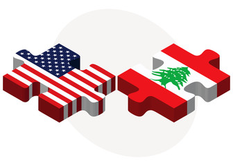 USA and Lebanon Flags in puzzle