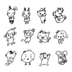 doodles of animal cartoon drawn by little girl, illustration vec