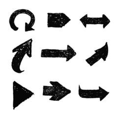 black grunge arrow set vector