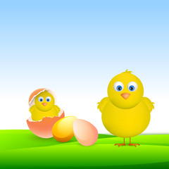 Cute chicks with eggs for Happy Easter celebration.