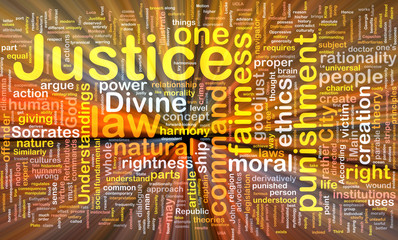 Justice background concept wordcloud glowing