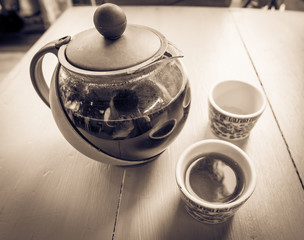 The time of tea break in Sepia