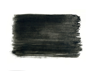 Grey grunge watercolor frame, black drop on white background.