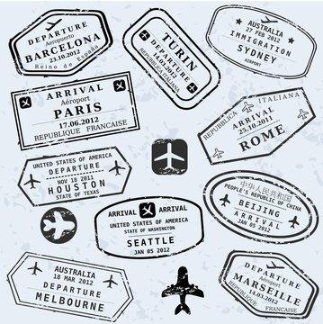 Travel vector - passport stamps
