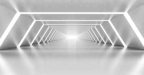 Pusty biały korytarz 3D
