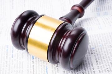 judge hammer lay on book