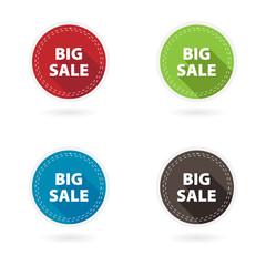 Set of 4 flat circle buttons. Big sale.