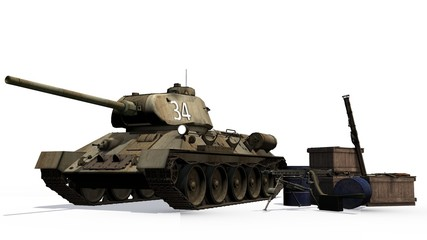 T34 russian Battle Tank with munitions boxes and weapons