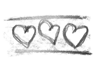 three hearts, grunge graphite pencil texture isolated on white