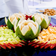 fruits carved with Thai style, ready to serve.