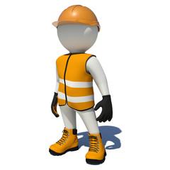 Worker in orange overalls. Isolated