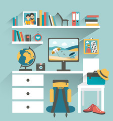 Office workplace with computer and book shelves.