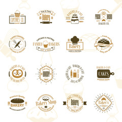 Vintage bakery badges, labels and logos