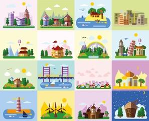 Набор различных пейзажей в плоский стиль - городской, сельской