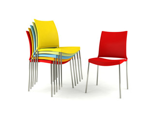 Colorful chairs isolated on white background