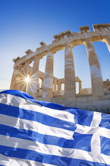 Parthenon temple with Greek flag  on Acropolis, Greece