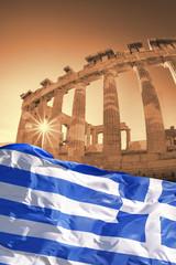 Parthenon temple with Greek flag  on Acropolis, Greece