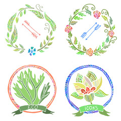 Floral Eco Icons. Vector Hand Drawn Illustration