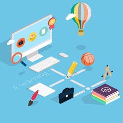 Flat 3d isometric concept of online education.