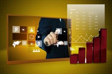 businessman showing digital graph