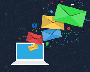 Email Newsletter Design with Laptop and Envelopes