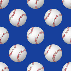 Vector seamless pattern of baseball balls on blue background