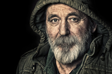 Very old homeless senior man portrait