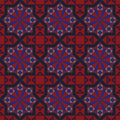 Seamless vintage tile pattern  black and red
