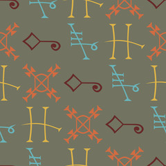 Seamless Background with Medieval Alchemical Signs