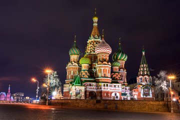 Fototapete - Illuminated St. Basil Cathedral at night