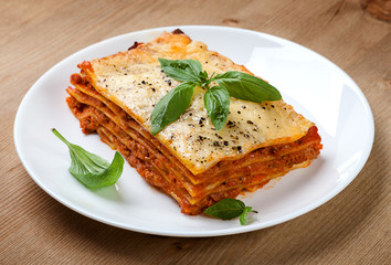 Tasty flavorful lasagna on a plate